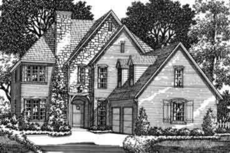 European Style House Plan - 5 Beds 4 Baths 4286 Sq/Ft Plan #141-102 Exterior - Front Elevation
