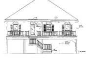 Beach Style House Plan - 4 Beds 2 Baths 1645 Sq/Ft Plan #37-144 Exterior - Rear Elevation