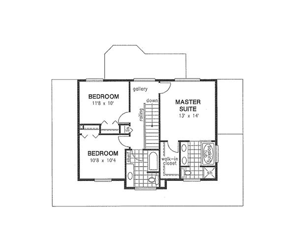 Traditional Floor Plan - Upper Floor Plan Plan #18-285