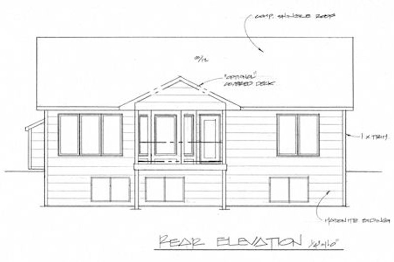 Traditional Exterior - Rear Elevation Plan #58-203 - Houseplans.com