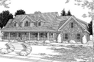 Country Exterior - Front Elevation Plan #12-203