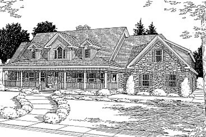 Country Style House Plan - 4 Beds 4 Baths 4929 Sq/Ft Plan #12-203 Exterior - Front Elevation