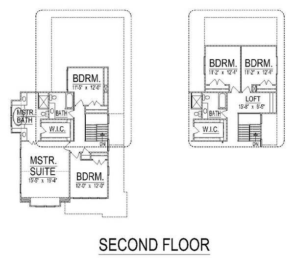 Craftsman Floor Plan - Upper Floor Plan Plan #458-15