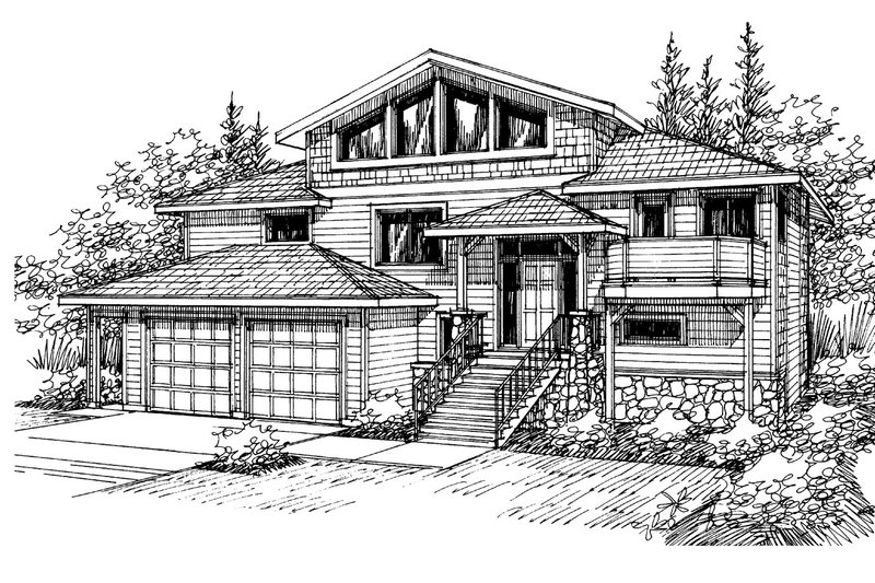 House Plan - 4 Beds 3 Baths 2877 Sq/Ft Plan #124-328 Exterior - Front Elevation