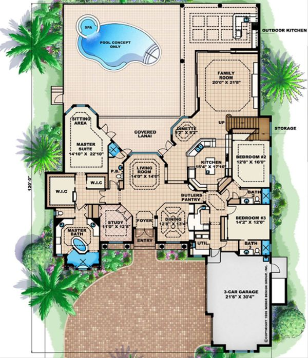 Mediterranean Floor Plan - Main Floor Plan Plan #27-453
