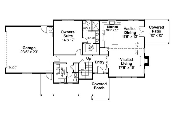 Country Floor Plan - Main Floor Plan Plan #124-1090