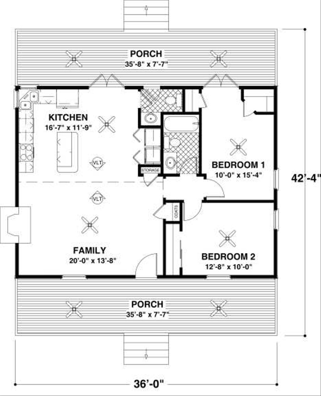 Cottage Style House Plan - 2 Beds 1.5 Baths 954 Sq/Ft Plan ...