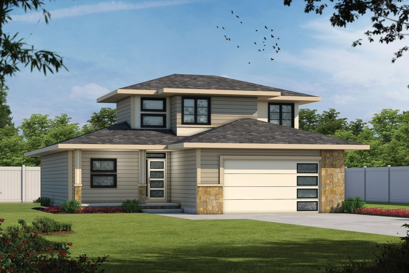 Home Plan - Contemporary Exterior - Front Elevation Plan #20-2483