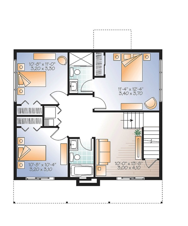 Contemporary Style House Plan - 3 Beds 2.5 Baths 1792 Sq/Ft Plan #23-2632 Floor Plan - Lower Floor Plan