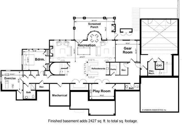 European Style House Plan - 4 Beds 3.5 Baths 5107 Sq/Ft Plan #928-66 Floor Plan - Lower Floor Plan