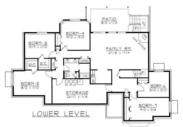 Ranch Floor Plan - Lower Floor Plan #112-144