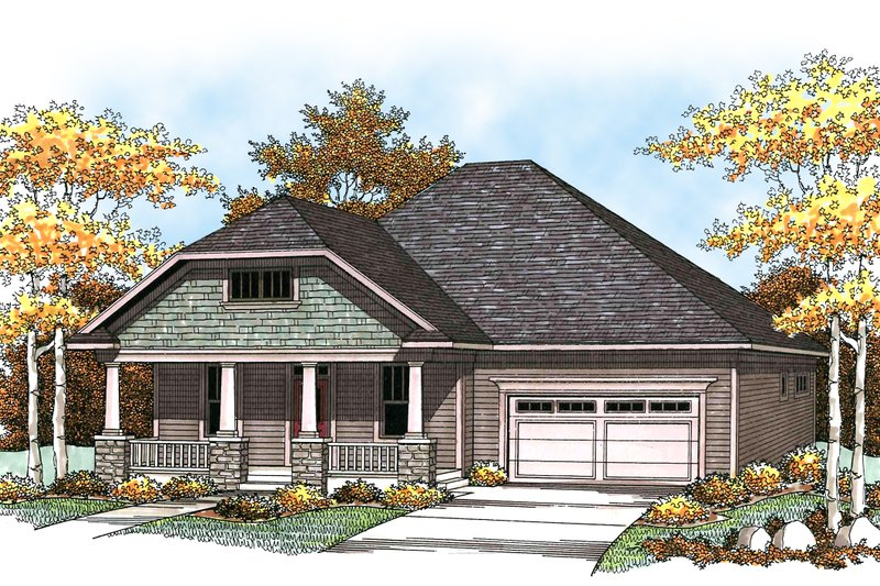 Architectural House Design - Craftsman Exterior - Front Elevation Plan #70-916