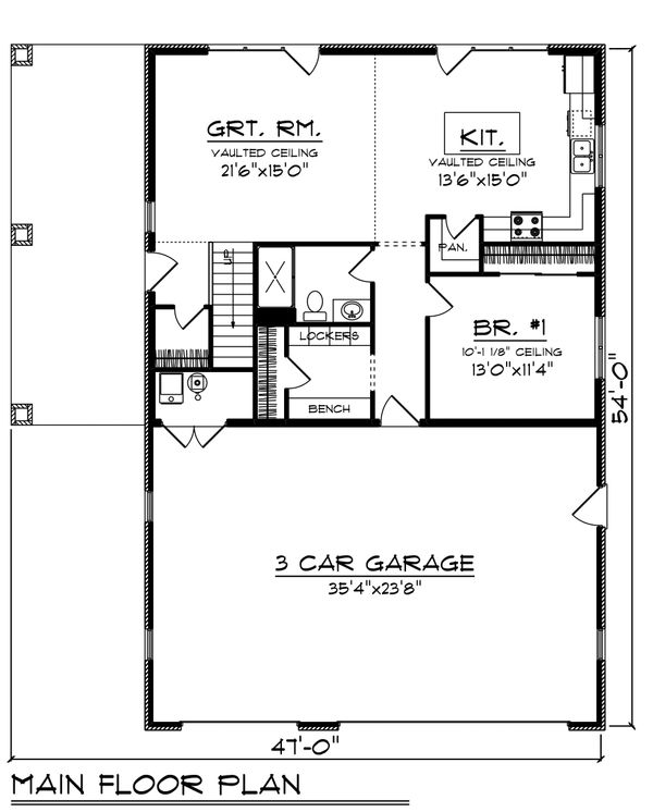 Farmhouse Floor Plan - Main Floor Plan #70-1478