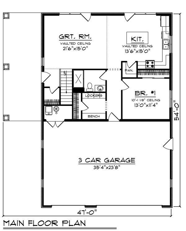 House Plan Design - Farmhouse Floor Plan - Main Floor Plan #70-1478