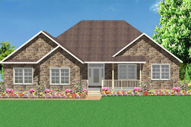 Traditional Style House Plan - 3 Beds 2 Baths 1793 Sq/Ft Plan #414-125 Exterior - Front Elevation