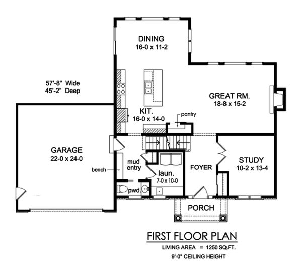 Traditional Floor Plan - Main Floor Plan Plan #1010-245