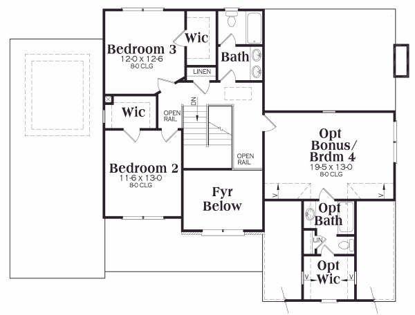 Traditional Floor Plan - Upper Floor Plan Plan #419-134