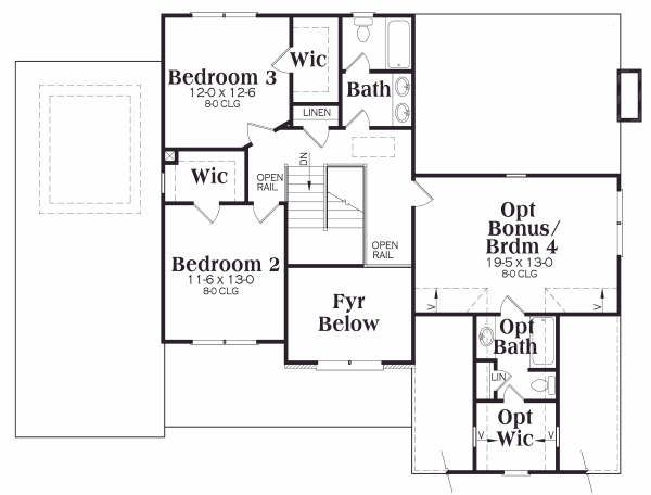 Traditional Floor Plan - Upper Floor Plan Plan #419-134