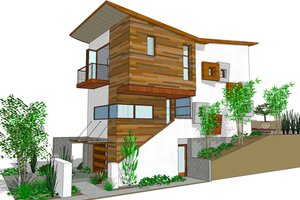 Modern Exterior - Front Elevation Plan #484-3