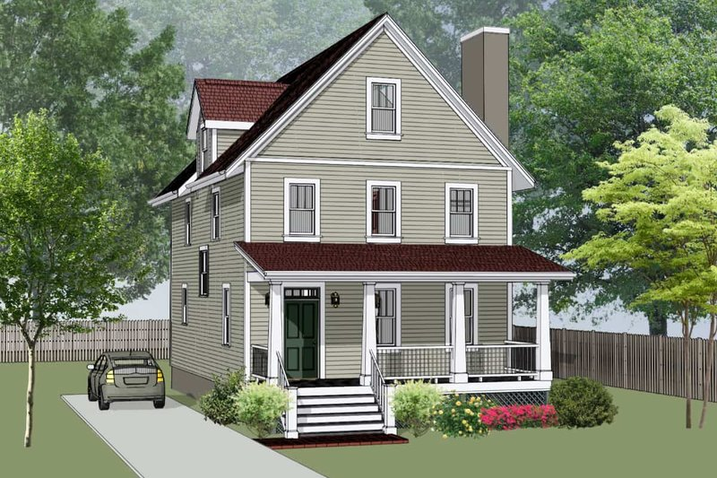 Craftsman Style House Plan - 4 Beds 3.5 Baths 1667 Sq/Ft Plan #79-305 Exterior - Front Elevation