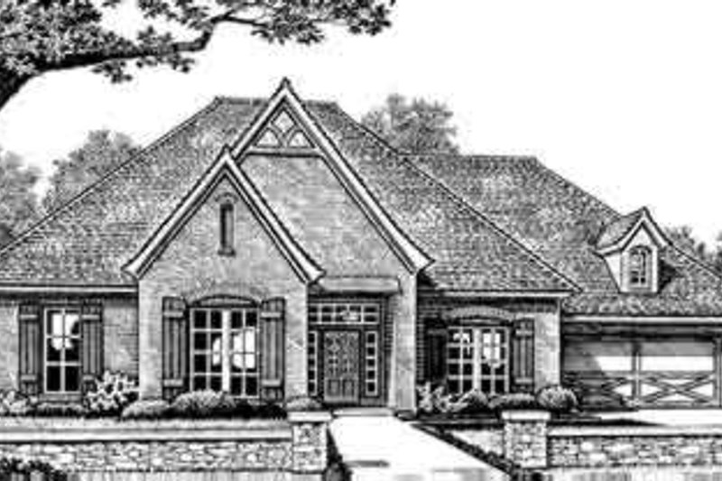 European Style House Plan - 3 Beds 3 Baths 2387 Sq/Ft Plan #310-251 Exterior - Front Elevation