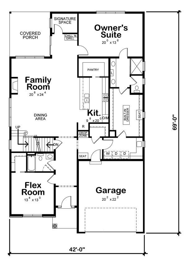 House Design - Craftsman Floor Plan - Main Floor Plan #20-2280