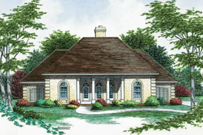 European Exterior - Front Elevation Plan #45-137