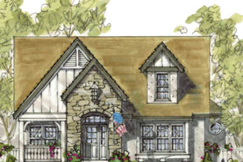 European Style House Plan - 4 Beds 3 Baths 2162 Sq/Ft Plan #20-1234 Exterior - Front Elevation