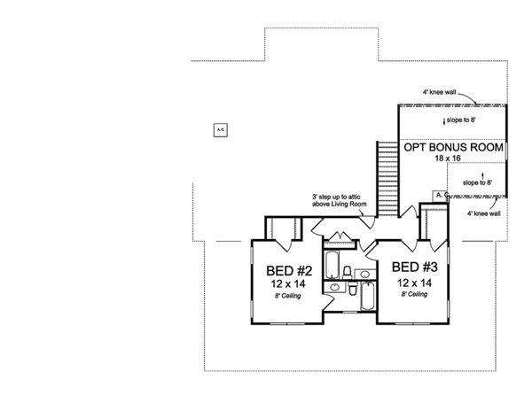 Farmhouse Floor Plan - Upper Floor Plan Plan #513-2172