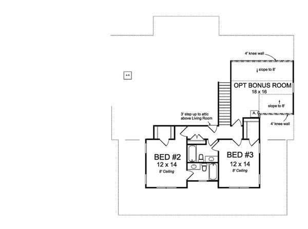 Farmhouse Floor Plan - Upper Floor Plan Plan #513-2172
