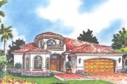 Mediterranean Style House Plan - 3 Beds 3 Baths 3063 Sq/Ft Plan #420-215 Exterior - Front Elevation
