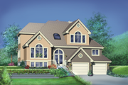 European Style House Plan - 5 Beds 2.5 Baths 2935 Sq/Ft Plan #25-2136 Exterior - Front Elevation