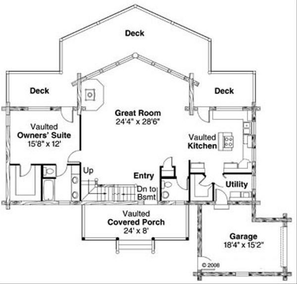 House Plan Design - Log Floor Plan - Main Floor Plan #124-766