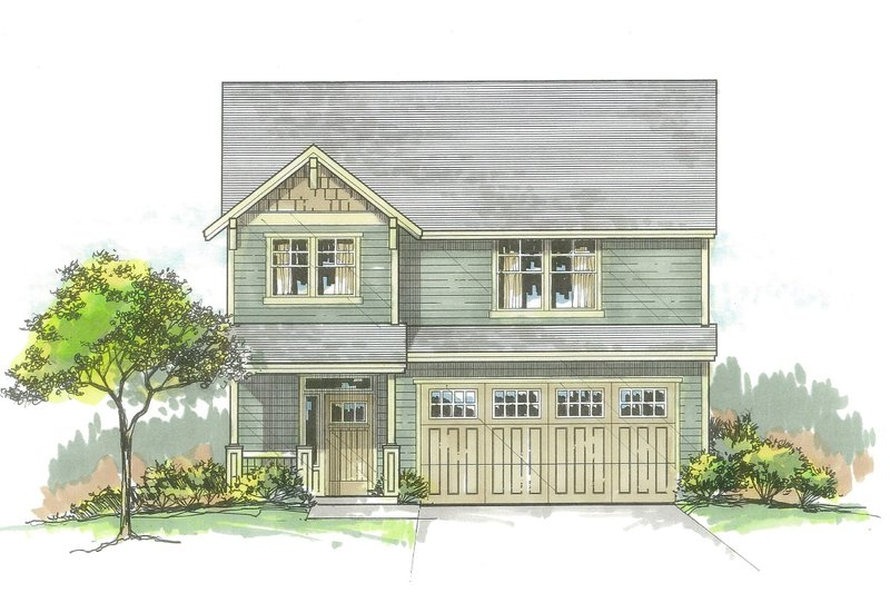 Craftsman Style House Plan - 3 Beds 2.5 Baths 1743 Sq/Ft Plan #53-561 Exterior - Front Elevation
