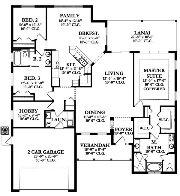 Ranch Floor Plan - Main Floor Plan Plan #1058-159