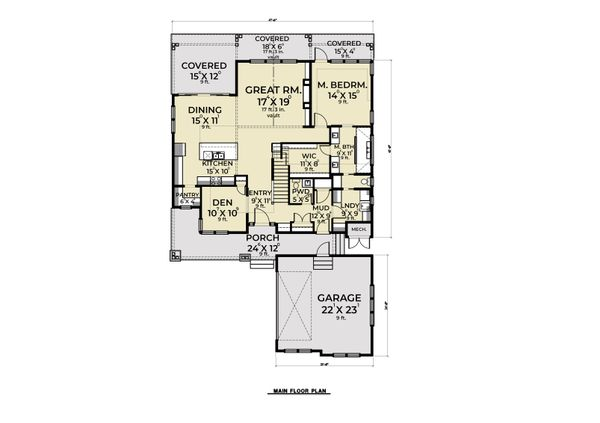 Craftsman Floor Plan - Main Floor Plan Plan #1070-105