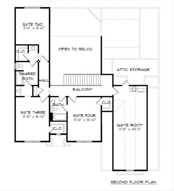 Tudor Floor Plan - Upper Floor Plan Plan #413-887