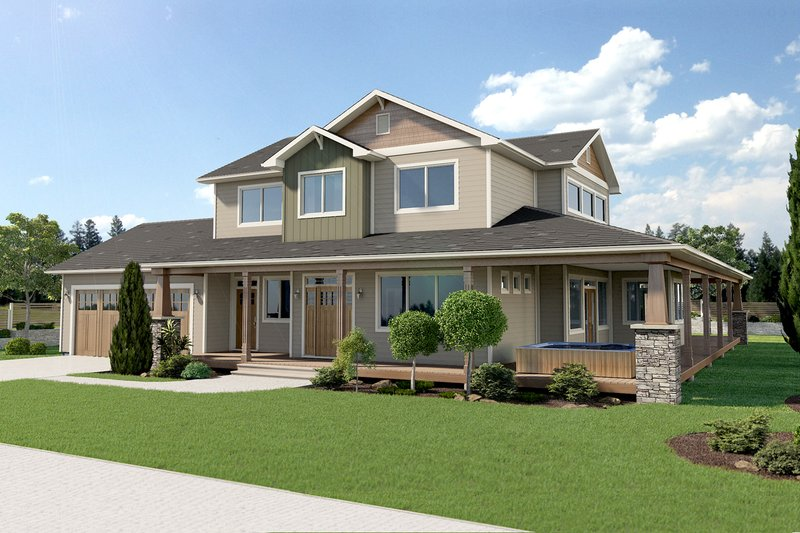 Craftsman Exterior - Front Elevation Plan #126-210