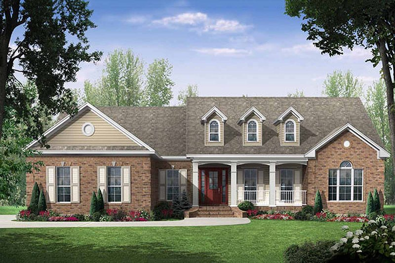 Country Style House Plan - 3 Beds 2.5 Baths 2000 Sq/Ft Plan #21-197 Exterior - Front Elevation