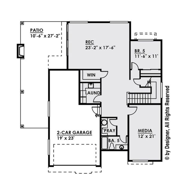 Contemporary Floor Plan - Lower Floor Plan Plan #1066-34