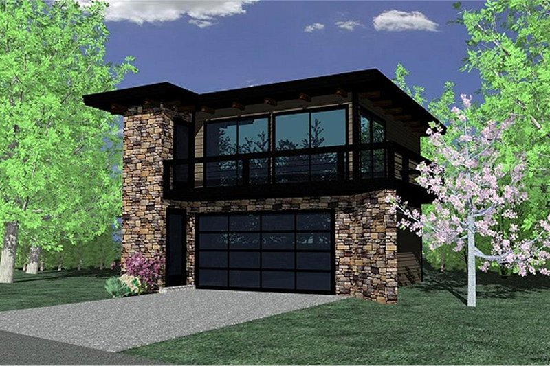 Modern Style House Plan - 1 Beds 1 Baths 615 Sq/Ft Plan #509-32 Exterior - Front Elevation