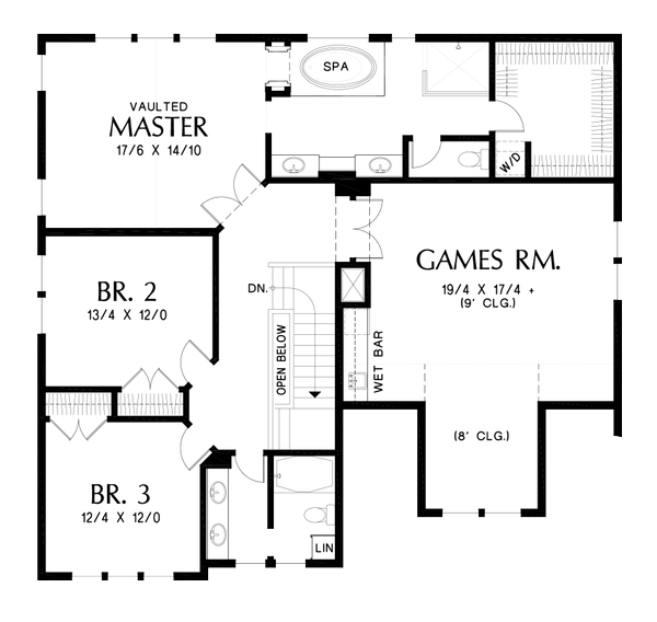 Craftsman Floor Plan - Upper Floor Plan Plan #48-1002