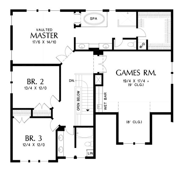 House Plan Design - Craftsman Floor Plan - Upper Floor Plan #48-1002