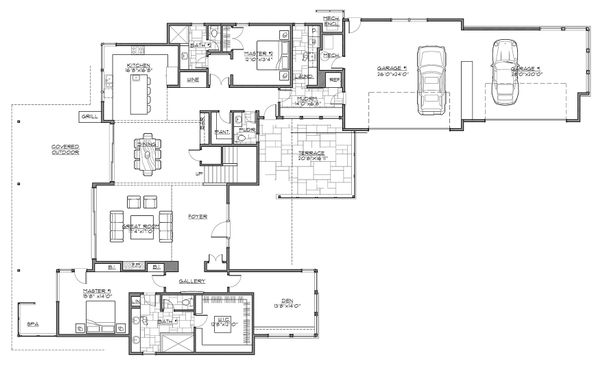 Contemporary Floor Plan - Main Floor Plan Plan #892-30