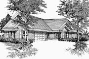 European Style House Plan - 3 Beds 2 Baths 1436 Sq/Ft Plan #329-180 Exterior - Front Elevation