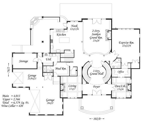 European Floor Plan - Main Floor Plan Plan #509-45