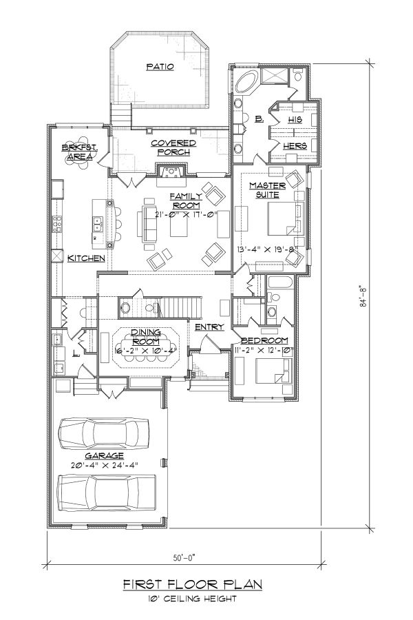 Traditional Floor Plan - Main Floor Plan Plan #1054-77