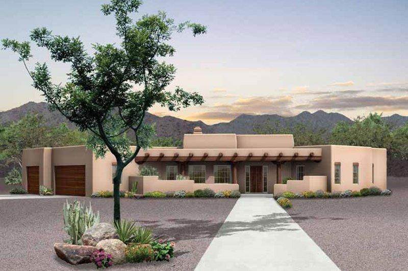 House Blueprint - Adobe / Southwestern Exterior - Front Elevation Plan #72-127