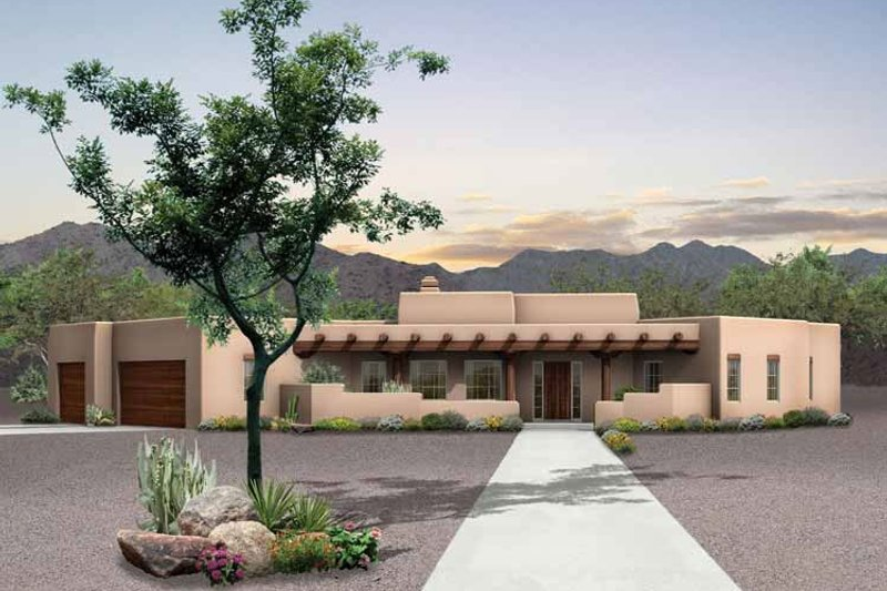 Adobe / Southwestern Style House Plan - 3 Beds 2.5 Baths 2015 Sq/Ft Plan #72-127 Exterior - Front Elevation