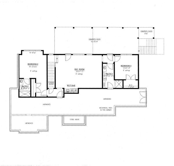Architectural House Design - Standard Finished Walkout Basement